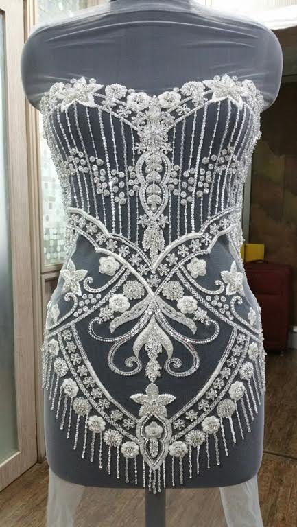 À la main perlé et brodé de corsage de robe de mariage dans plus de 50 modèles - GABRIELLA