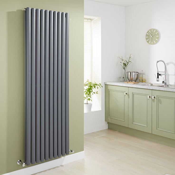 Milano Aruba - Anthracite Vertical Designer Radiator 1780mm x 590mm (Double Panel) - Grey Anthracite Vertical Designer Radiator in green kitchen