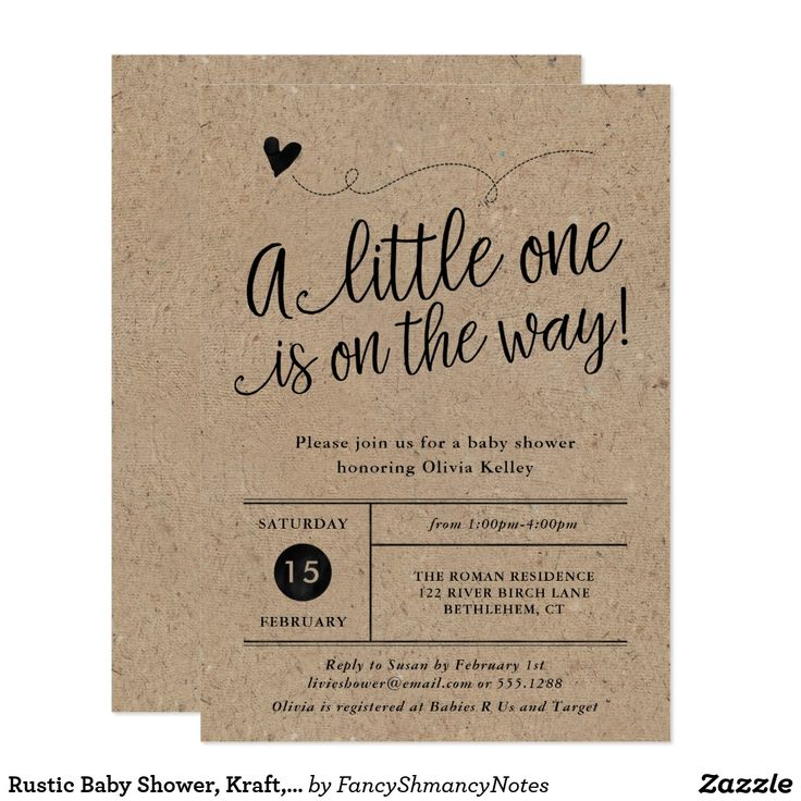 """Rustic Baby Shower, Kraft, Gender Neutral Card This trendy gender neutral invitation features a hand lettered heading, """"A little one is on the way"""" and your information in a grid style on the front, and rustic hand drawn laurels on the back. Both sides have a kraft background. Choose from one of the white paper options for best results. Use the template form to add your shower details. The Customize feature allows you to change the font style, and add or delete text."""
