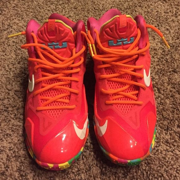 "Lebron ""fruity pebbles"" Only wore a few times look brand new! Super cute and comfortable size runs big so they fit like a 6. Nike Shoes Sneakers"