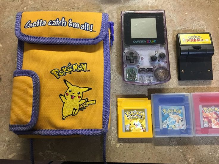 Gameboy Color Pokemon Yellow, Blue, Red, Pokémon Pinball And Carrying Case  | eBay