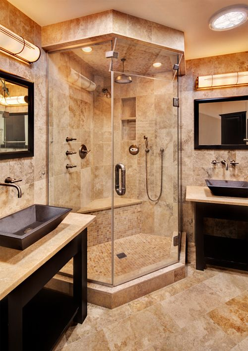 Best 25 corner showers bathroom ideas on pinterest for Two sink bathroom ideas