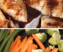 Steamed fish and veg with coconut rice and yummy marinade
