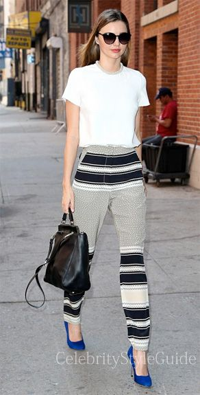 Seen on Celebrity Style Guide: Stepping out after an enjoyable evening with her husband, Orlando Bloom, Miranda Kerr wore the Ellery Bobcats Silk Cigarette Trousers as she takes to the streets of New York City on September 20