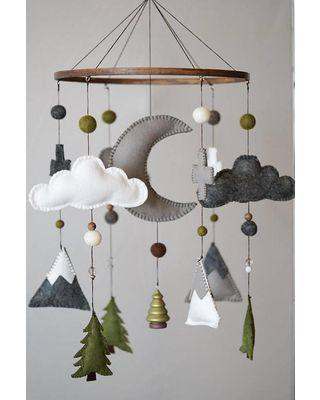 Etsy – HELLOxSUGAR Woodland Nursery / Felt Mobile / Mountain Nursery / Felt Moon / Woodland Mobile / Nursery Decor / Cross / Monochrome / Scandinavian Decor from Etsy (US) | parenting.com Shop