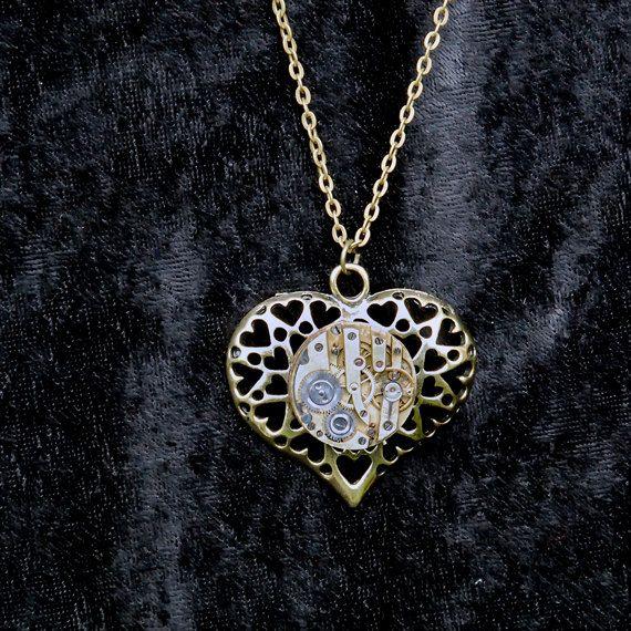 Steampunk Heart with Genuine Vintage Watch Movement by poppydot #Dorsetteam