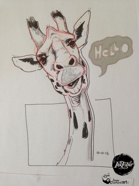 Inktober 2015 - Giraffe image.