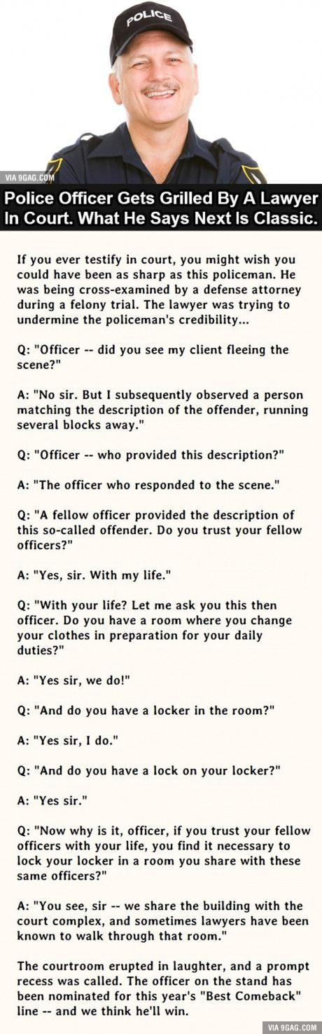 The Best Comeback Ever. This Police Officer Nails It.