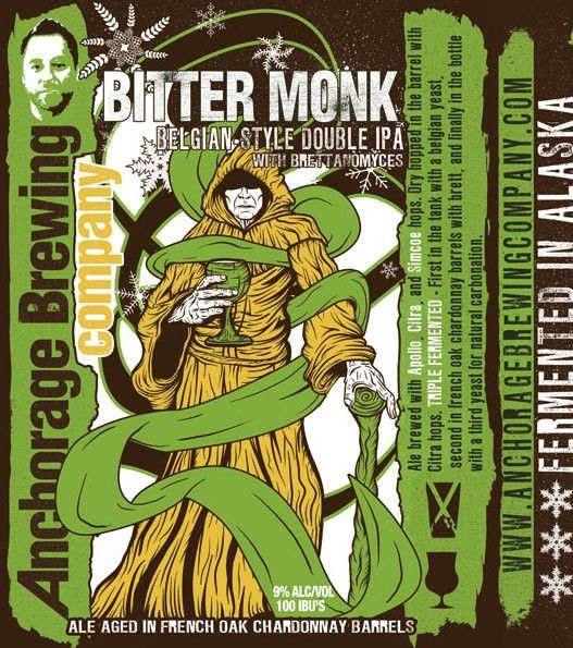 Cerveja Anchorage Bitter Monk, estilo Wood Aged Beer, produzida por Anchorage Brewing, Estados Unidos. 9% ABV de álcool.