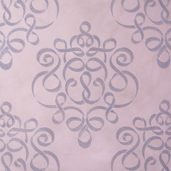 Damask Wall Stencil in Modern Ribbon Style by royaldesignstencils, $39.00