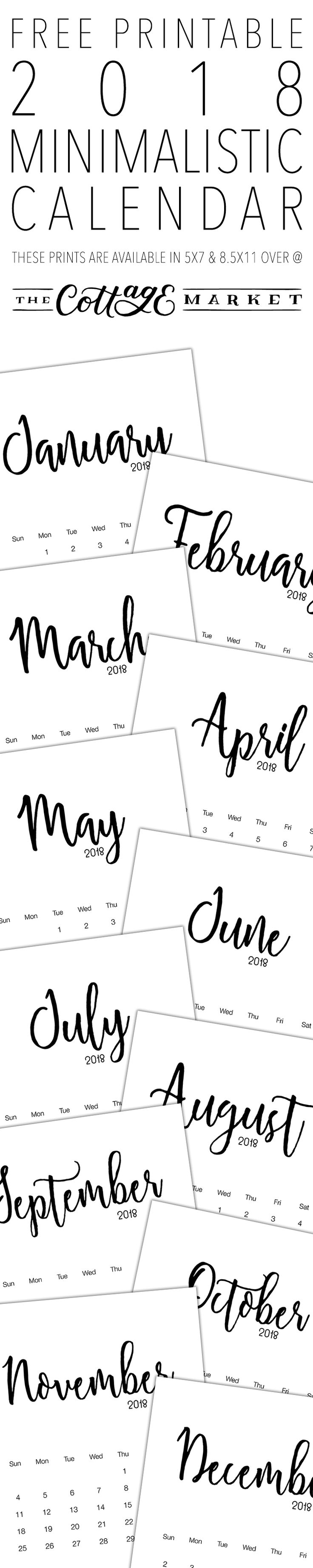 Here is a calendar that will go with any decor whatsoever ...it is clean and crisp so snatch up this Free Printable 2018 Minimalistic Calendar! ENJOY!