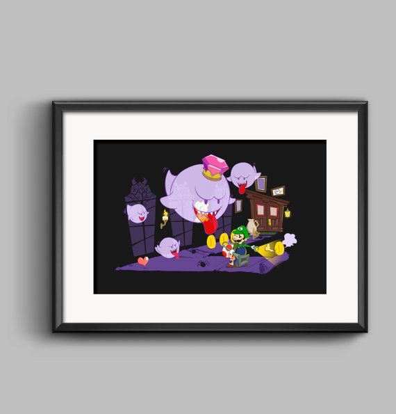 Nintendo Luigi's Haunted Mansion And King Boo Art Poster