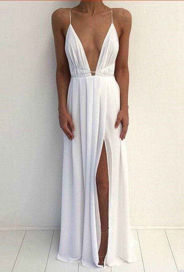 Silk v long dress for short