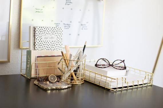 Office Supplies Gold Desk Accessories For Women 4 Piece Wire Gold Desk Organizer Set Letter So Gold Desk Accessories Desk Organizer Set Gold Office Supplies
