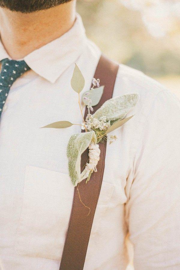 Suspenders + sage boutonniere | Cassie Lopez Photography