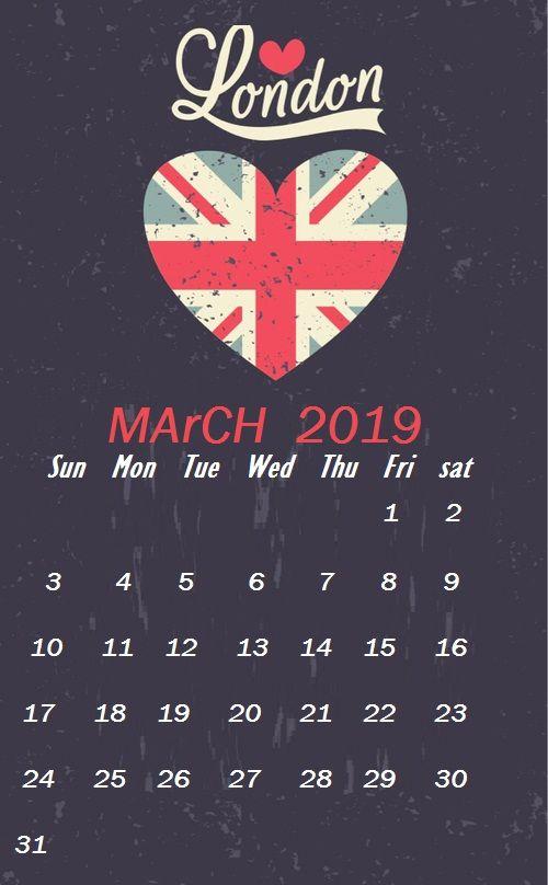 London Wallpaper March 2019 Monthly Calendar Templates Pinterest