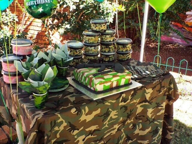 Army party setup. Laser tag games in the garden! Girls had pink cammo party packs & dog tags :-)