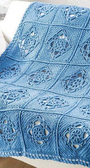 Interesting Crochet Square Blanket Pattern. Плед из квадратных мотивов связан крючком. More Great Looks Like This