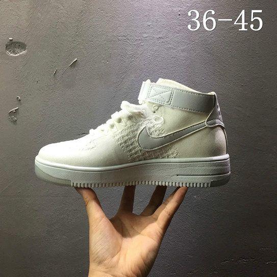 5e4bd649bdef Nike air force 1 AF1 Flyknit high Greyish White 817420 100