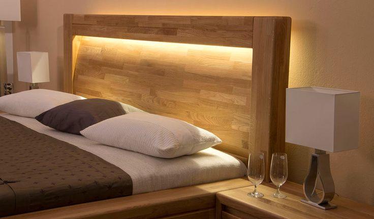 Luxusná dubová posteľ IMPERIA - Čelo Oblé s LED osvetlením.