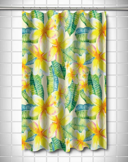 Plumeria Yellow Shower Curtain