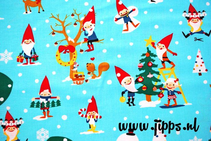 Kerststof Gnomeville for the Holidays - Michael Miller, verkrijgbaar via www.jipps.nl
