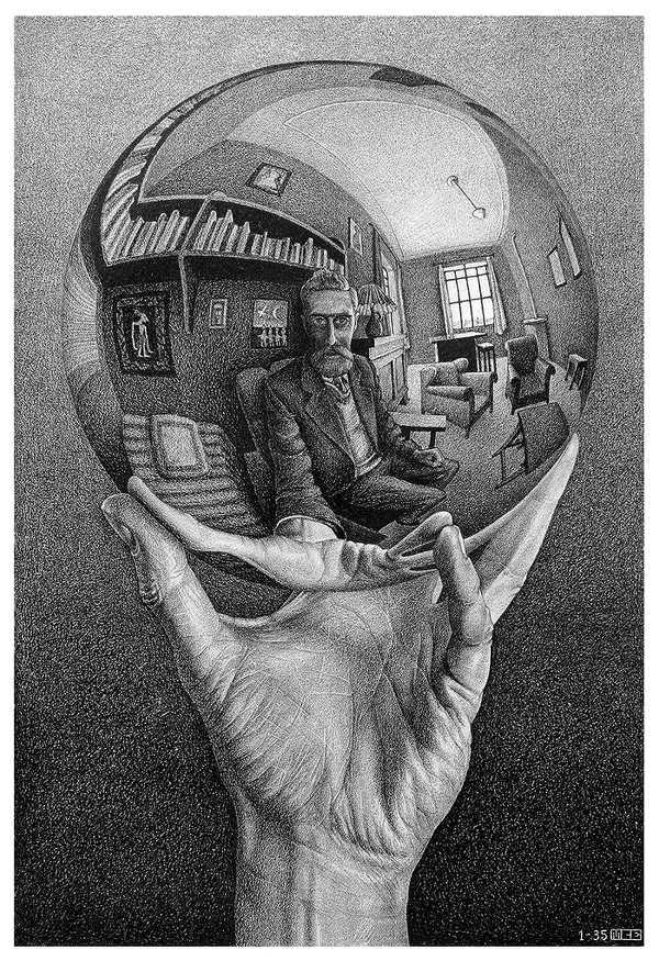 Maurits Cornelis Escher, Mano con sfera riflettente, 1935, litografia 31x21,3 cm M.C. Escher Foundation
