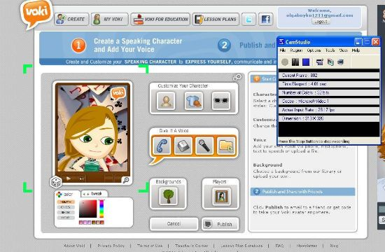 """Make a speaking cartoon character in Voki and copy the """"embed code"""" into a VLE or any web site that allows embedding."""