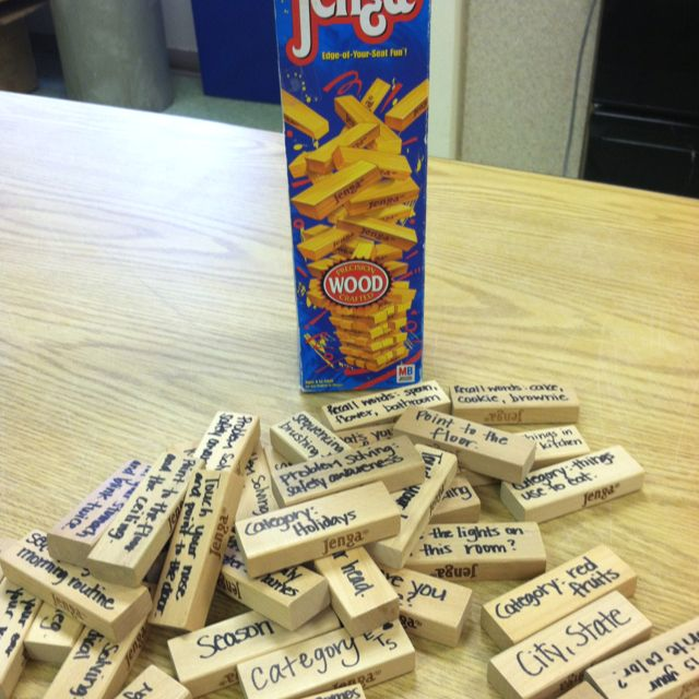 (Why just adult???) Speechie Jenga - targeting orientation, problem solving, sequencing, word finding, following commands & more! Super fun, super functional & easy to make yourself. - Re-pinned by @PediaStaff – Please Visit http://ht.ly/63sNt for all our pediatric therapy pins