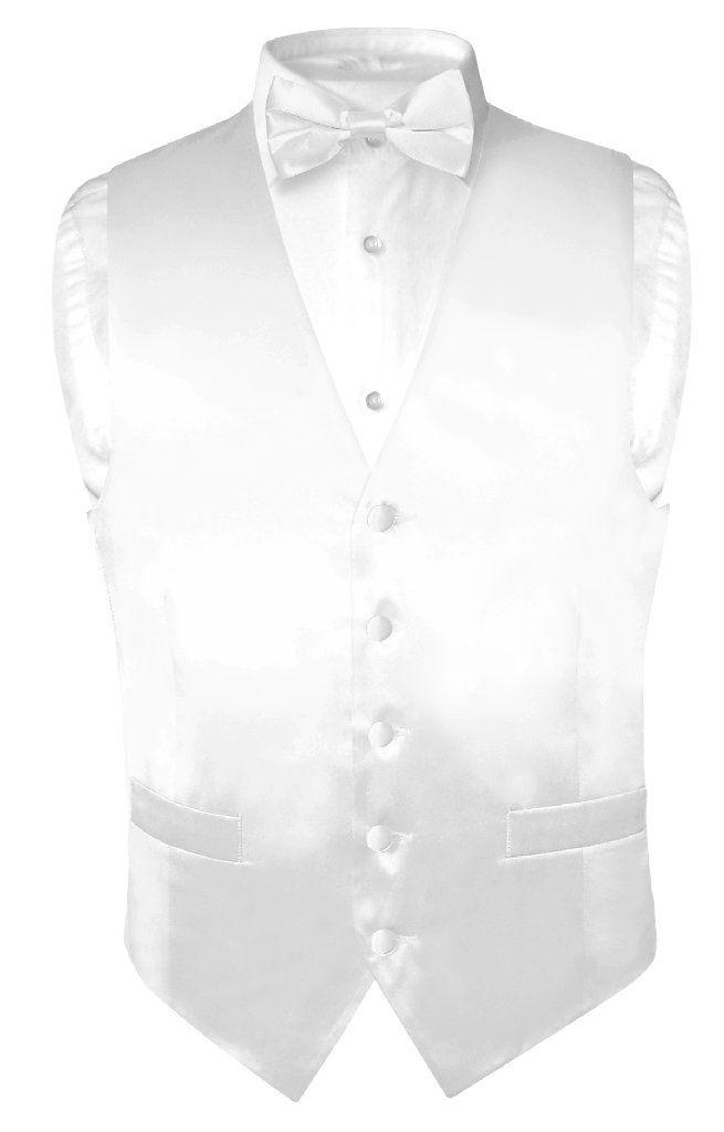 Biagio Men's SILK Dress Vest & Bow Tie Solid WHITE Color BowTie Set