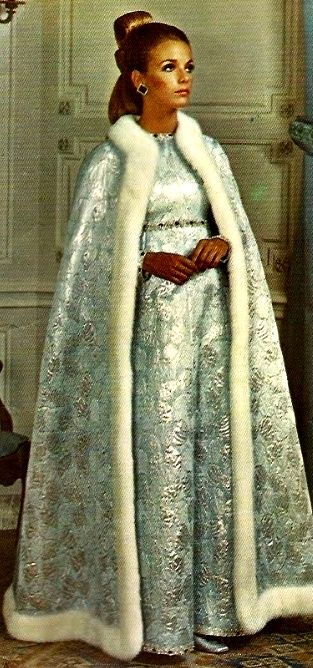 Brocade evening gown and cape, by Yves Saint Laurent, 1967