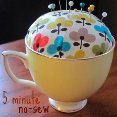 teacup pincushion (no sewing required). this would be adorable with an old looking teacup from an antique store or goodwill.