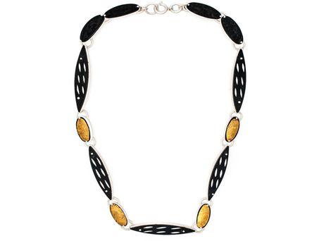Rocky neckpiece by Joungmee Do  (Sterling silver, steel, fine silver, fine gold)