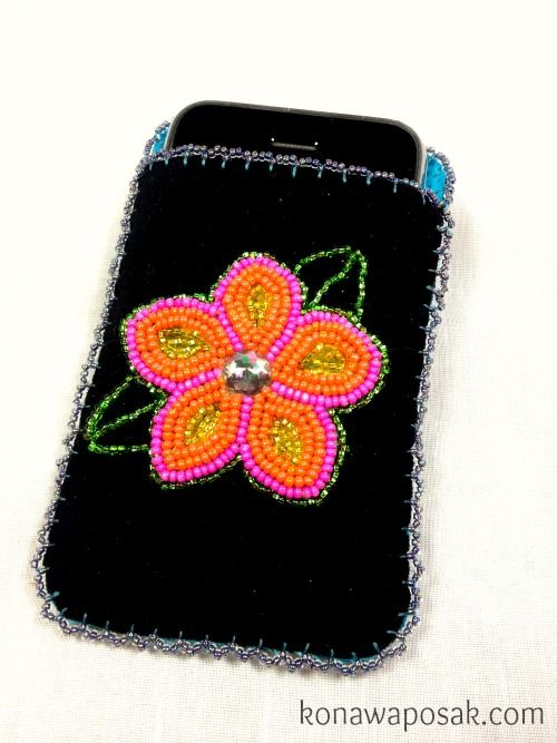 Black Leather Hand Beaded Cell Phone Case Beadwork