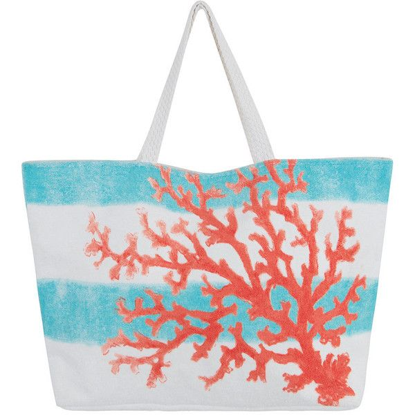 Marinette Saint Tropez Beaurivage Shopper - Coral (71 CAD) ❤ liked on Polyvore featuring bags, handbags, tote bags, orange, coral tote bag, striped tote, orange tote bag, stripe tote bag and white purse