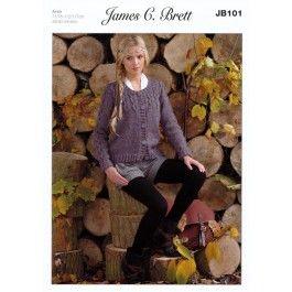 Cardigan+in+James+C.+Brett+With+Wool+Aran+&+Rustic+with+Wool+Aran+(JB101)+£2.99