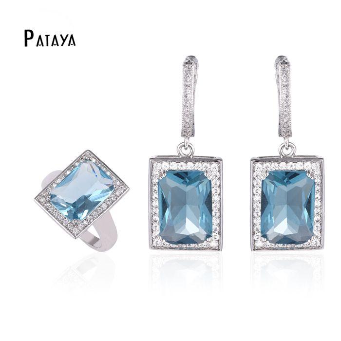 2015 новая мода ювелирные наборы платиновым покрытием синий натуральный циркон…