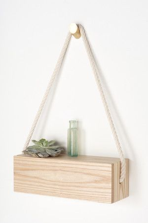"Rope Shelf - $180 - Solid ash and accented with a cotton rope strap. 12""×4""×4"" — Light + Ladder"