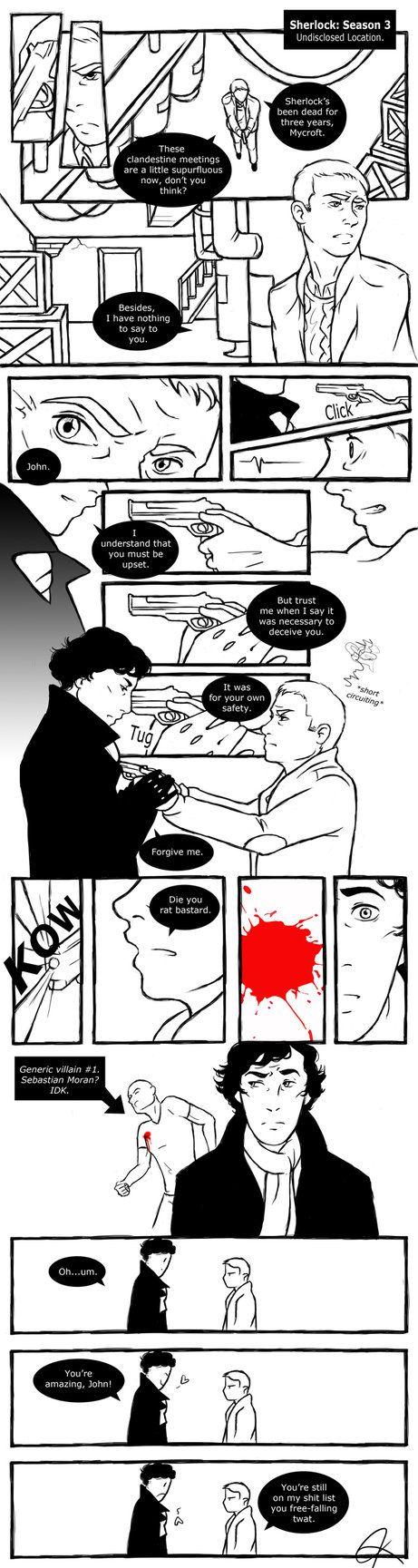 """""""Sherlock: Season 3 by ~BlueEyedPerceiver on deviantART"""" THAT LAST PANEL! I love John"""