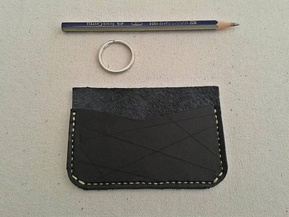 Credit Card Wallet  Black Leather Hand-stitched Upcycled -   #Etsy  #leathergoods  #cardholder  #leathercraft  #giftideas