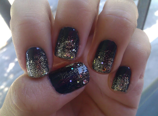 sparkllessSweets Nails, Nails Design, Sparkle Nails, Black Nails, Glitter Nails, Nails Polish, Night Sky, Glittery Nails, Galaxies Nails