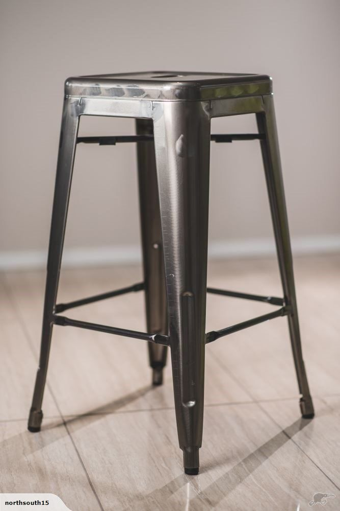 Metallic Industrial Silver Metal Bar Stool | Trade Me