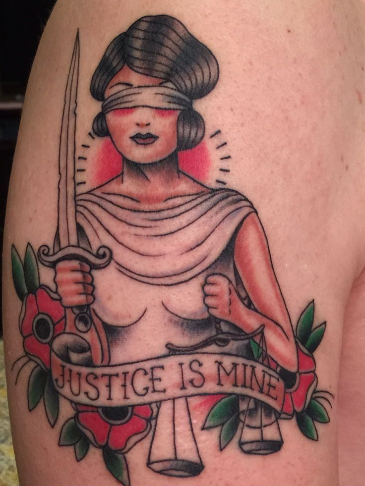 Awesome Lady Justice traditional tattoo.