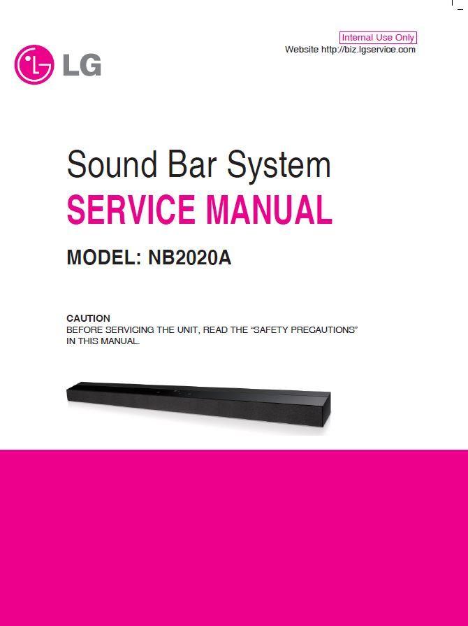 Lg Nb2020a Sound Bar System Original Service Manual And Repair Instructions Sound Bar Repair Guide Manual