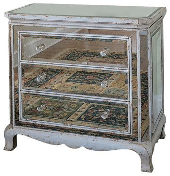 Three Drawer French Mirrored Chest   Traditional   Dressers Chests And Bedroom  Armoires   Benjamin Rugs
