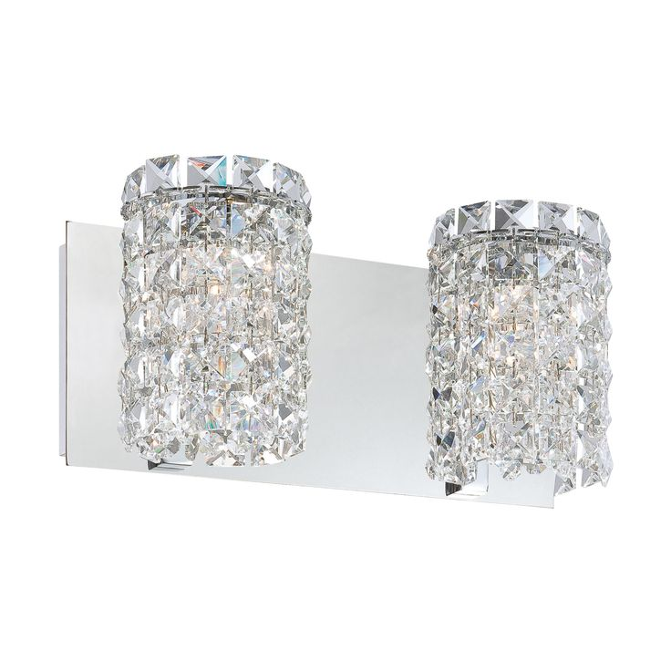 Queen 2 Light Vanity In Chrome And Clear Crystal Glass