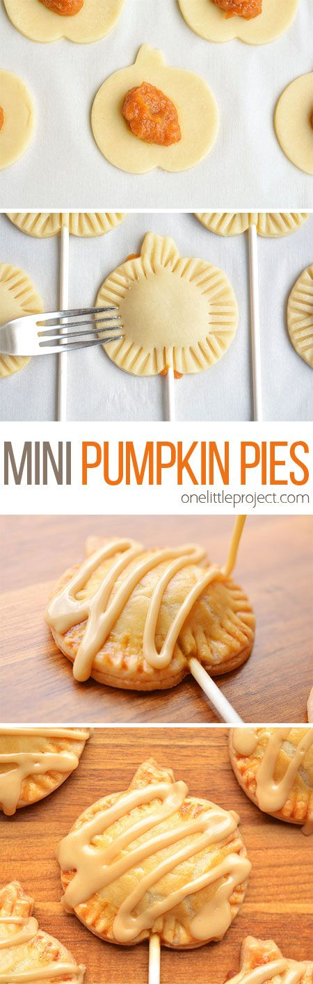 These mini pumpkin pie pops are SO CUTE!! They have all the flavours of pumpkin pie with an amazing maple sugar glaze on top. A perfect treat idea for Thanksgiving! @craftsy