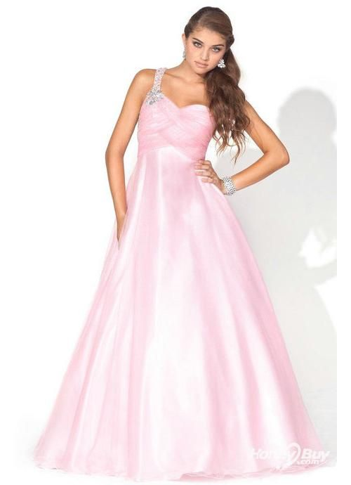 One Shoulder Long Princess 2012 Style Pink Formal Prom Dresses
