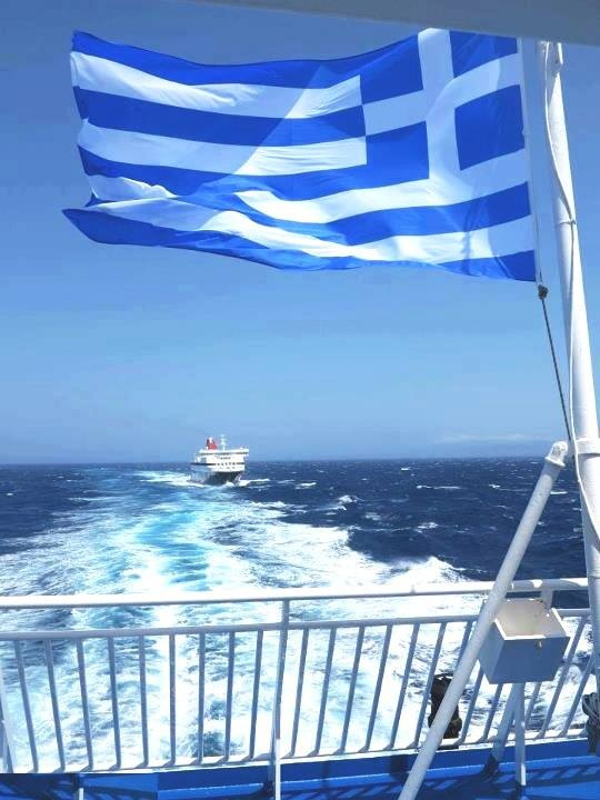 On the ferry enjoying the Aegean Sea...