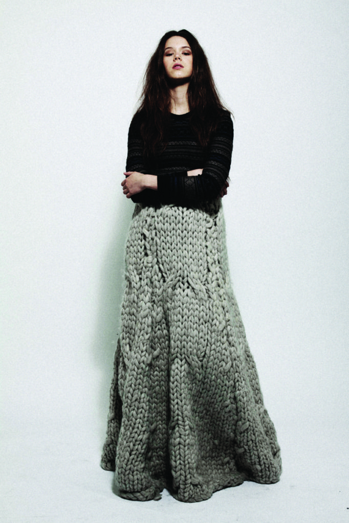 Oh my god I love this skirt!  The gauge is so big it must have been knit with…